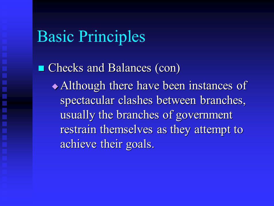 Basic Principles Checks and Balances (con)