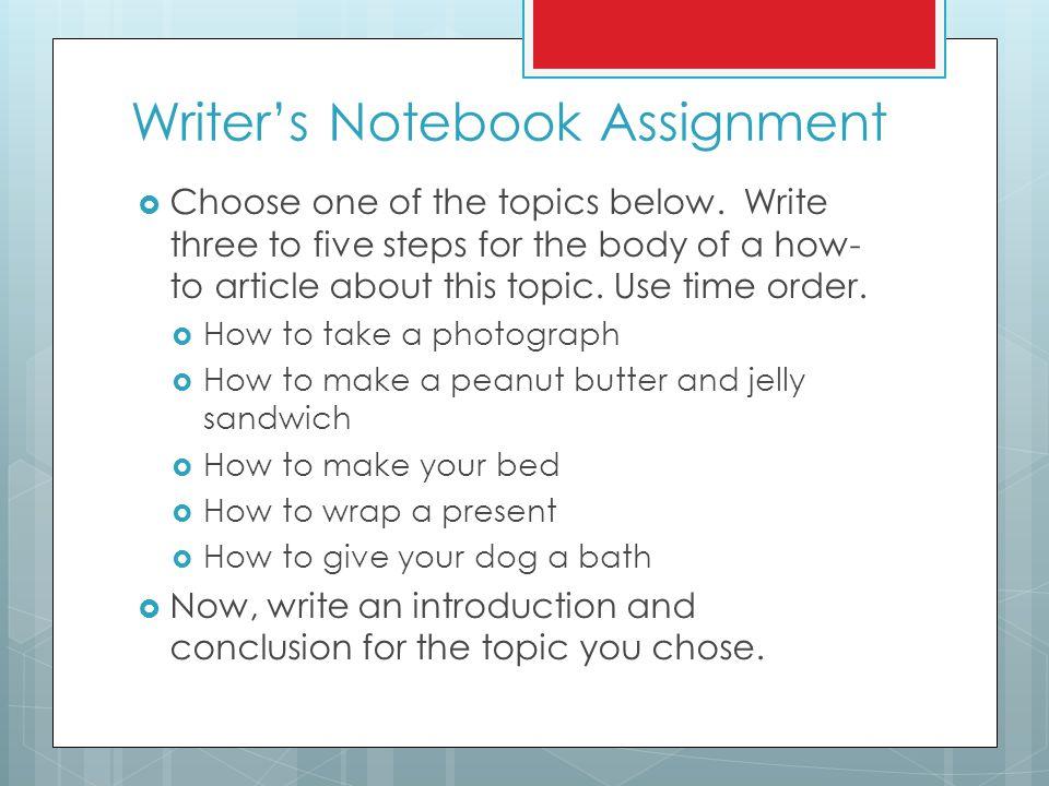Writer's Notebook Assignment