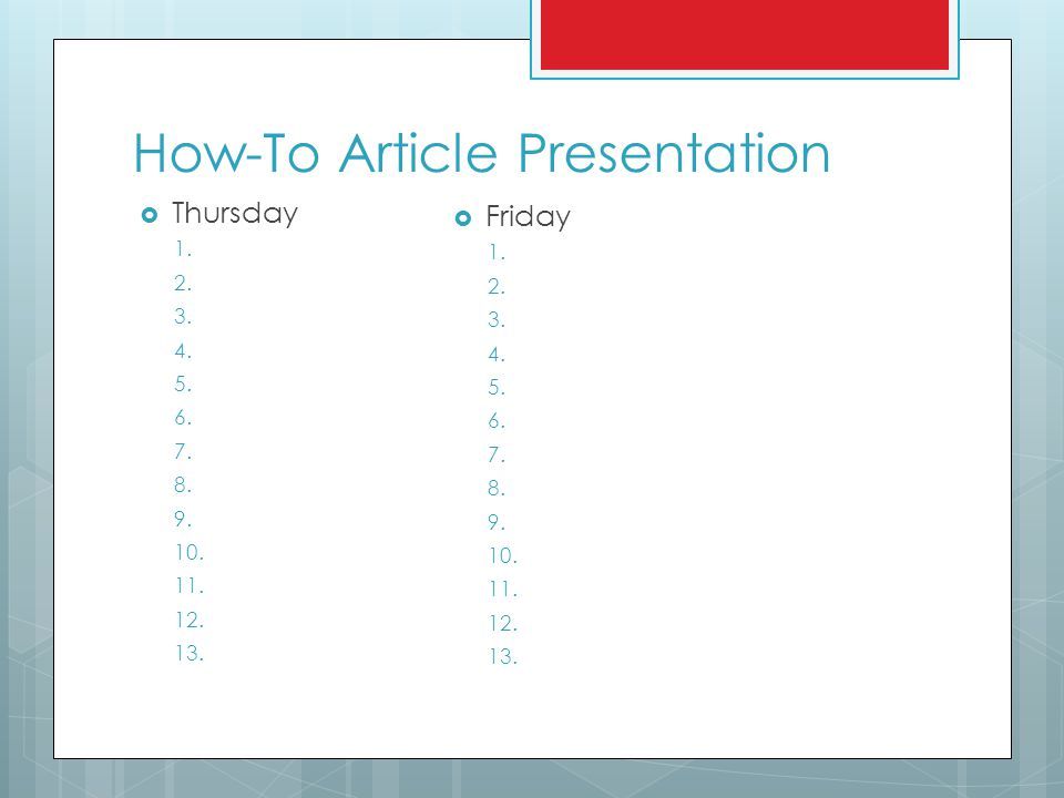 How-To Article Presentation