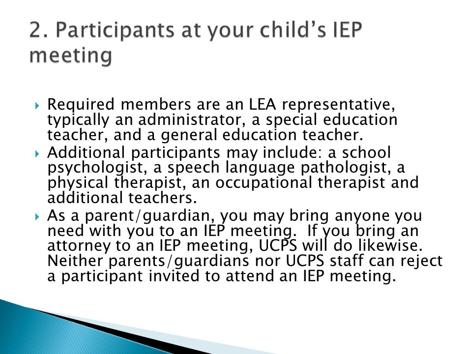 2. Participants at your child's IEP meeting