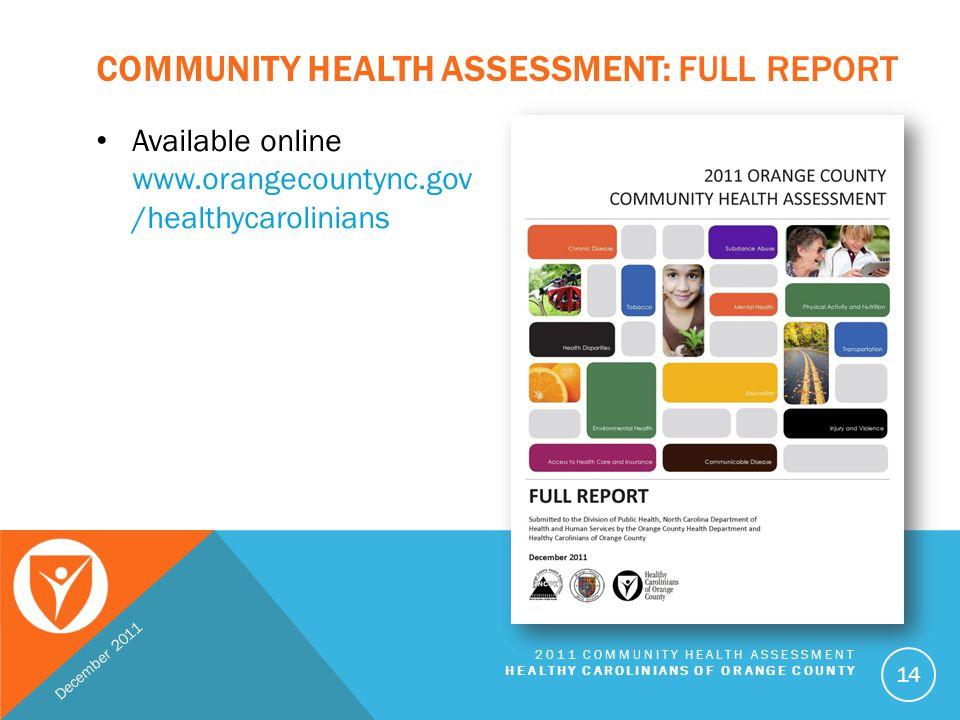 Community Health Assessment: Full Report