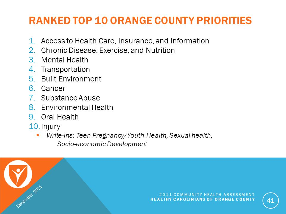 Ranked Top 10 Orange County Priorities