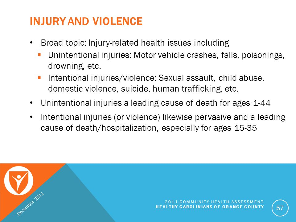 Injury and Violence Broad topic: Injury-related health issues including.
