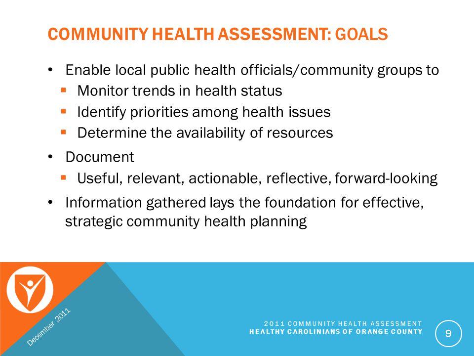 Community Health Assessment: Goals