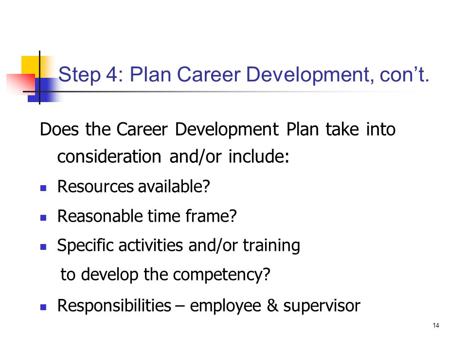 Step 4: Plan Career Development, con't.