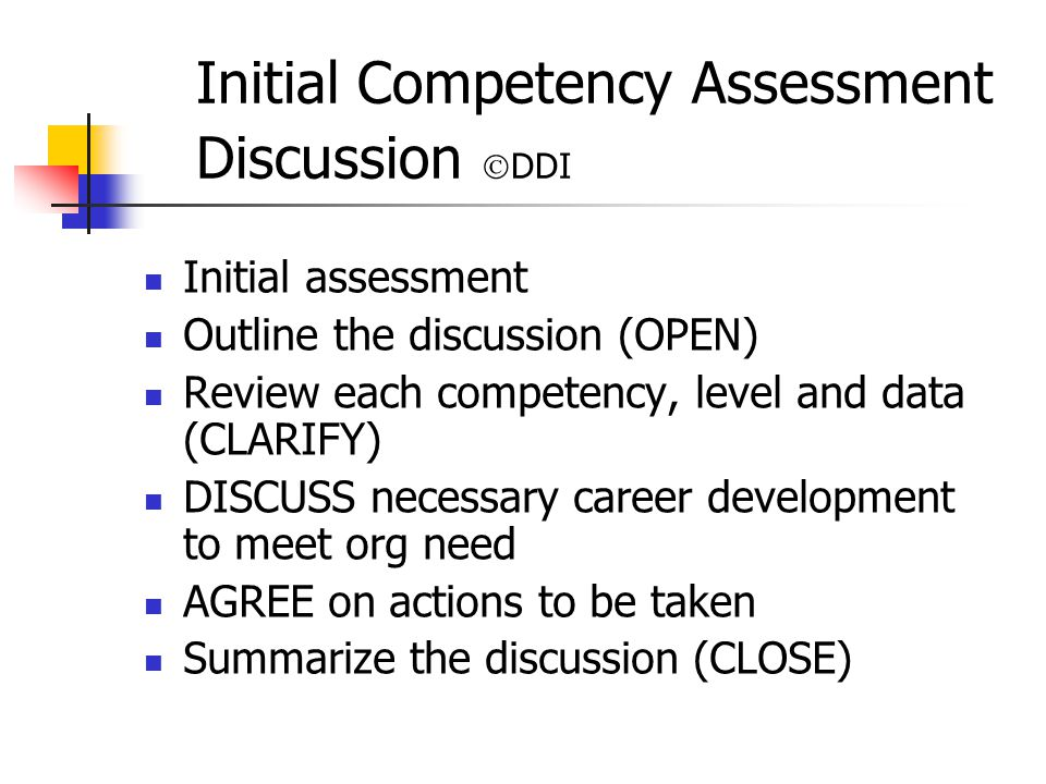 Initial Competency Assessment Discussion DDI