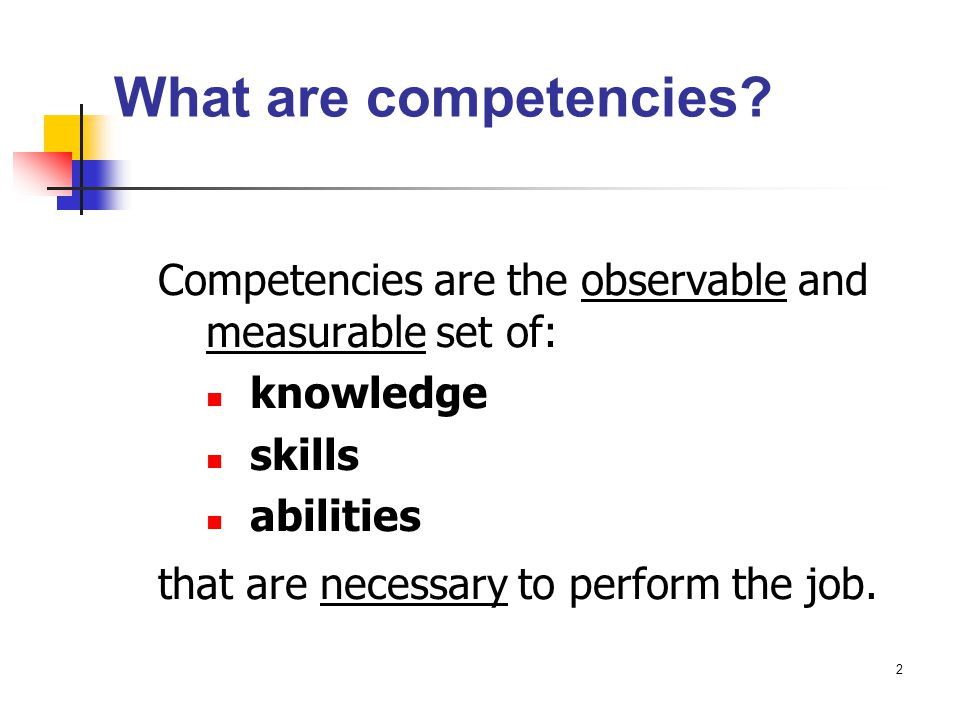 What are competencies Competencies are the observable and measurable set of: knowledge. skills. abilities.
