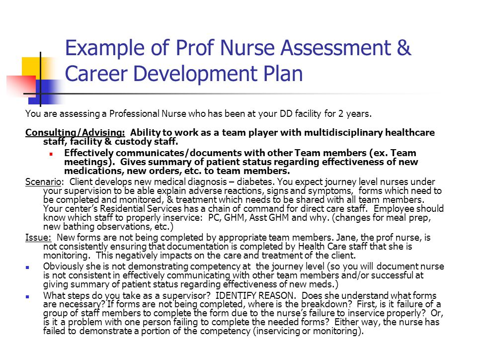 Example of Prof Nurse Assessment & Career Development Plan