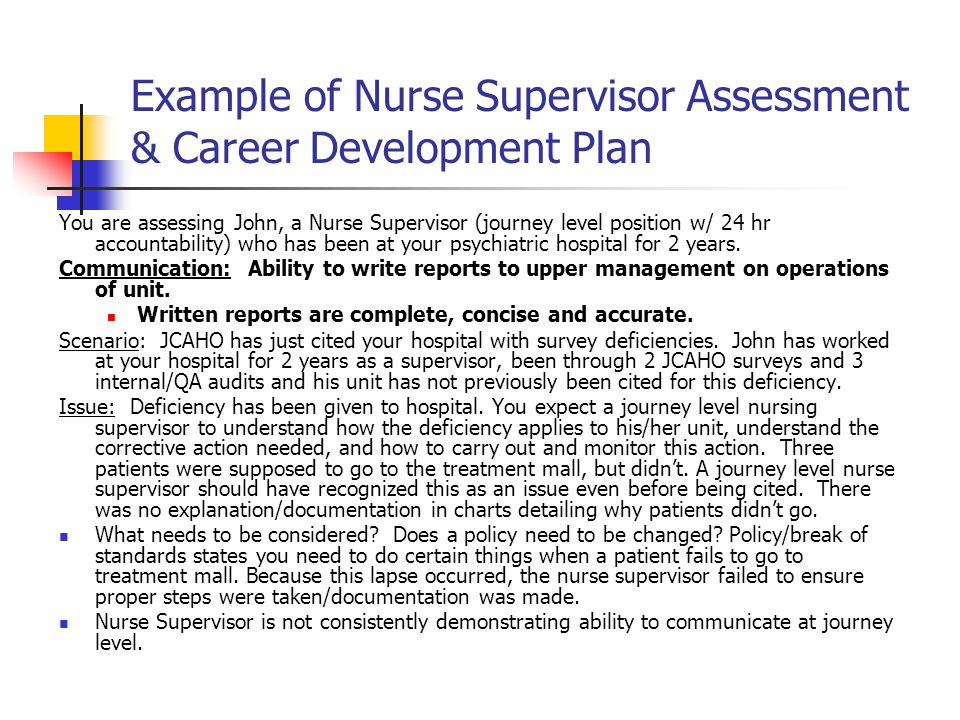 Example of Nurse Supervisor Assessment & Career Development Plan