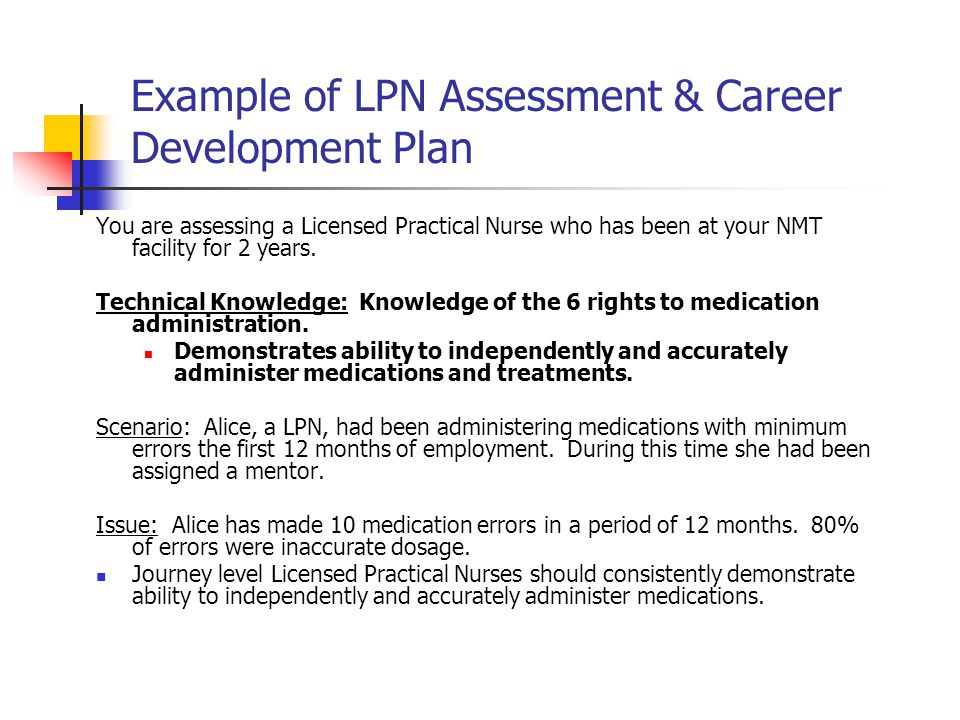 Example of LPN Assessment & Career Development Plan