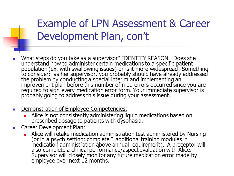 Example of LPN Assessment & Career Development Plan, con't