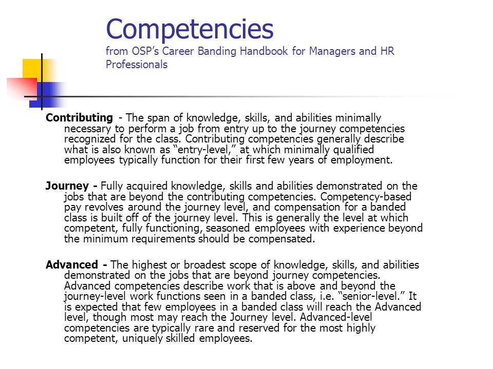 Competencies from OSP's Career Banding Handbook for Managers and HR Professionals