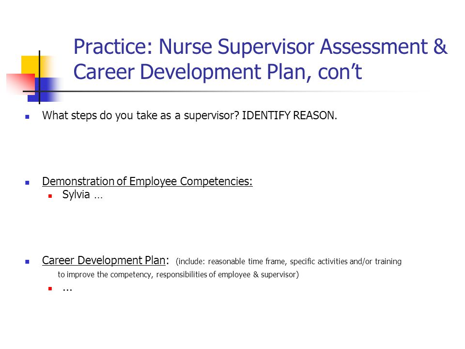 Practice: Nurse Supervisor Assessment & Career Development Plan, con't