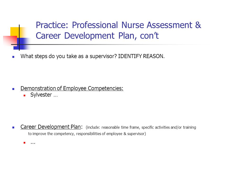 Practice: Professional Nurse Assessment & Career Development Plan, con't