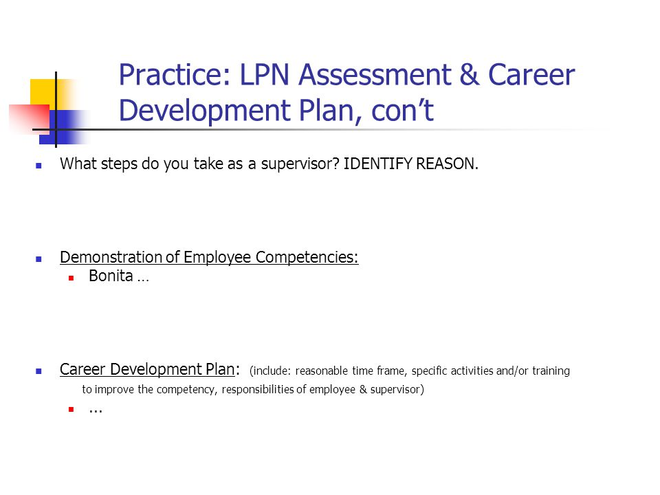 Practice: LPN Assessment & Career Development Plan, con't
