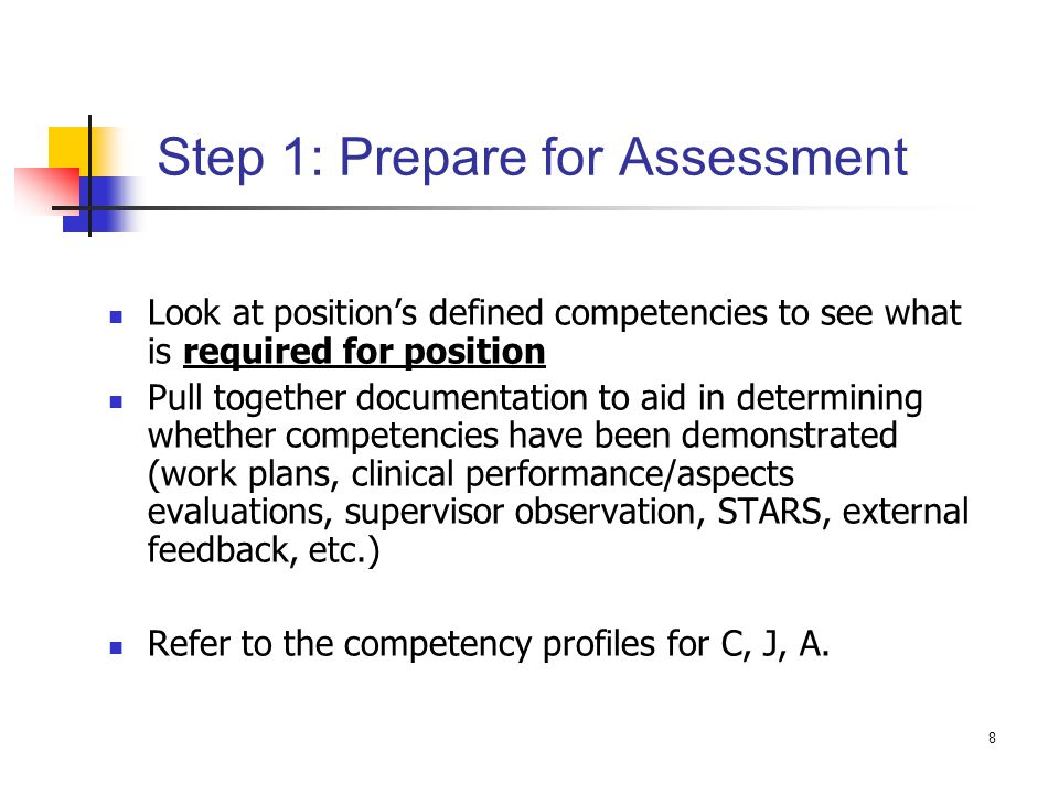Step 1: Prepare for Assessment