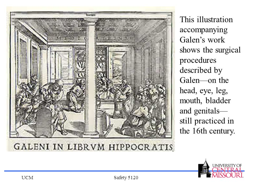 This illustration accompanying Galen's work shows the surgical procedures described by Galen—on the head, eye, leg, mouth, bladder and genitals— still practiced in the 16th century.