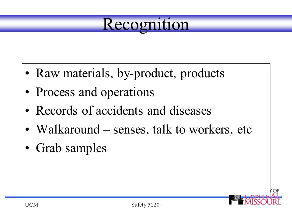 Recognition Raw materials, by-product, products Process and operations