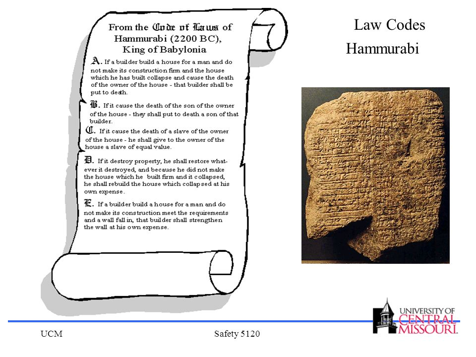 Law Codes Hammurabi UCM Safety 5120