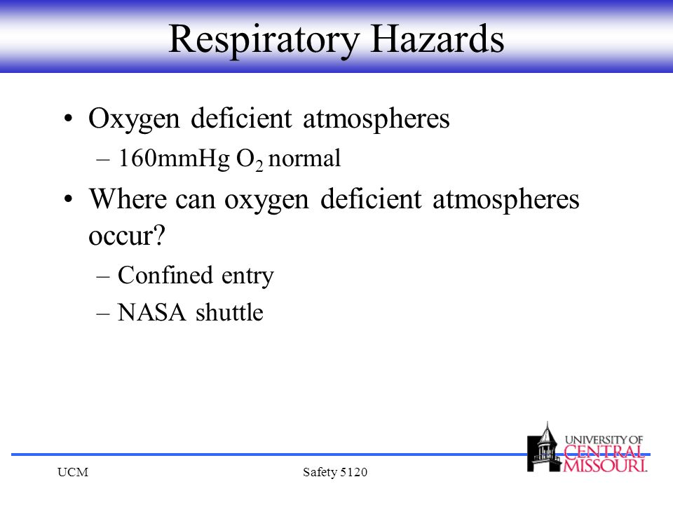 Respiratory Hazards Oxygen deficient atmospheres