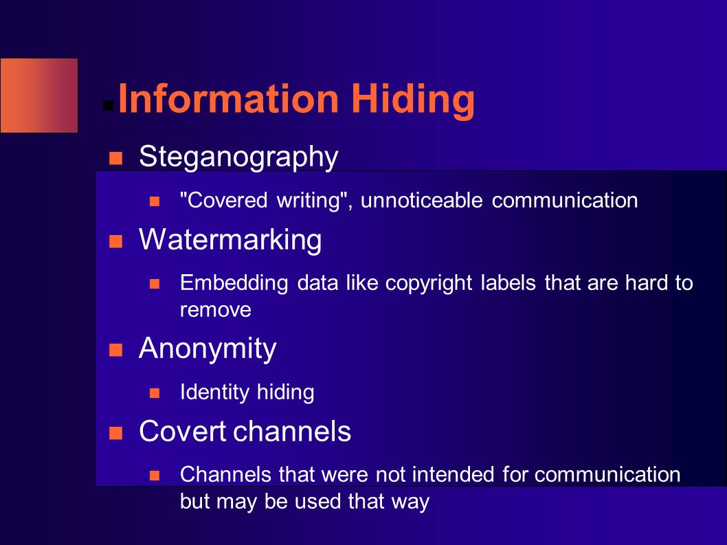 Information Hiding Steganography Watermarking Anonymity