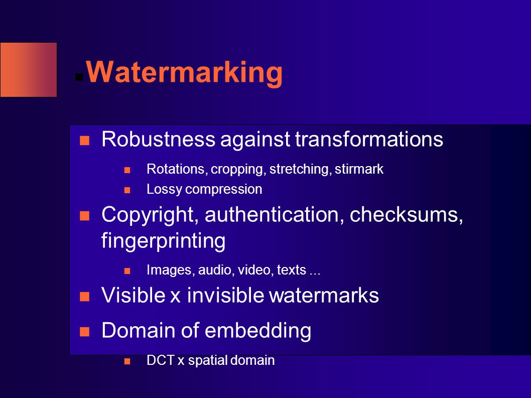 Watermarking Robustness against transformations