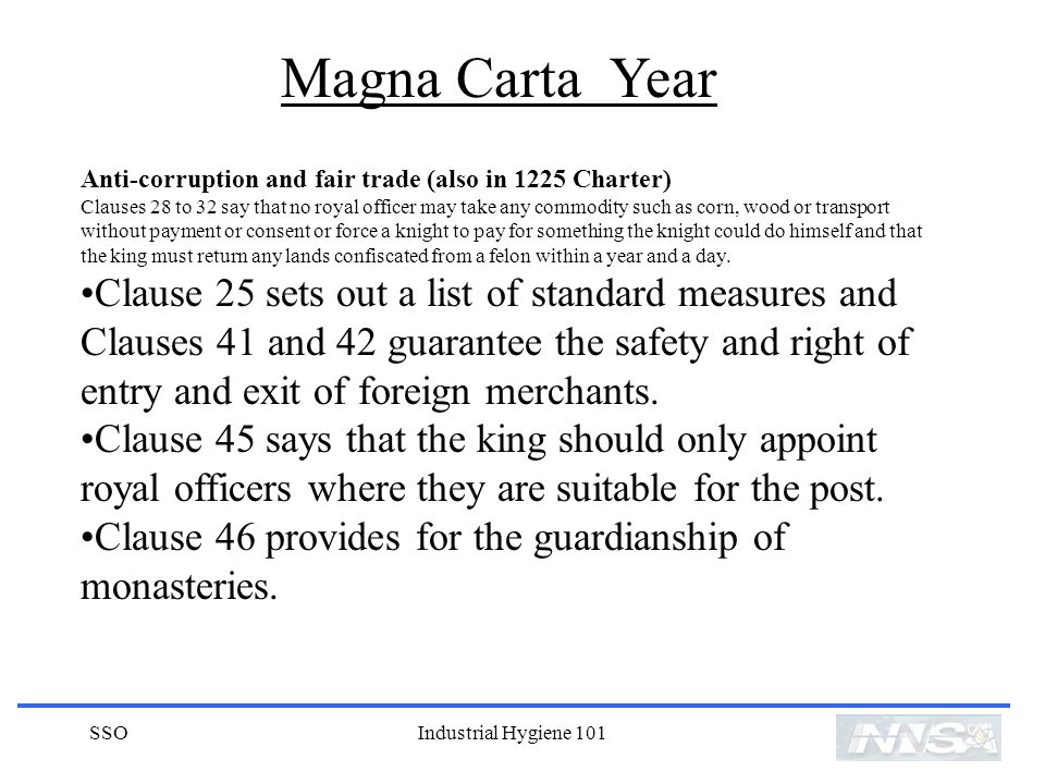Magna Carta Year Anti-corruption and fair trade (also in 1225 Charter)