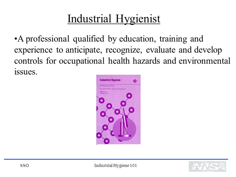 A professional qualified by education, training and experience to anticipate, recognize, evaluate and develop controls for occupational health hazards and environmental issues.