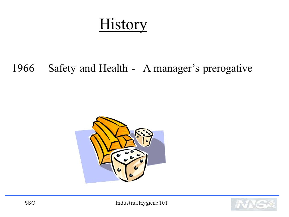 History 1966 Safety and Health - A manager's prerogative SSO