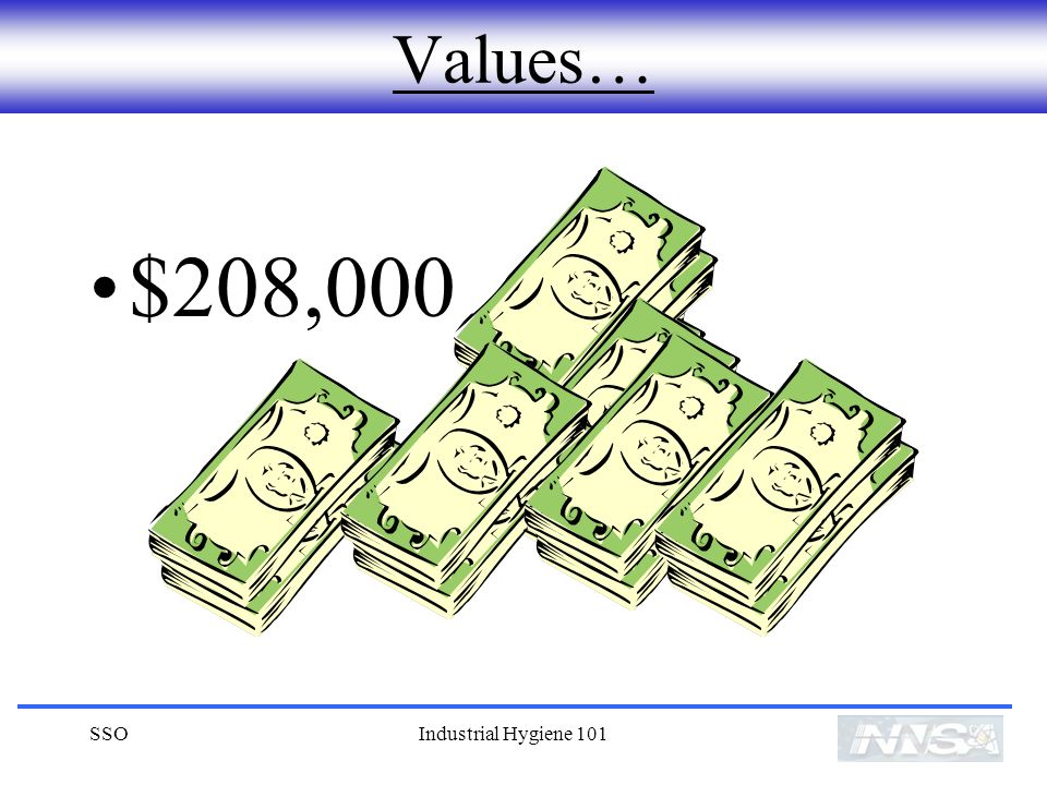 Values… $208,000 SSO Industrial Hygiene 101