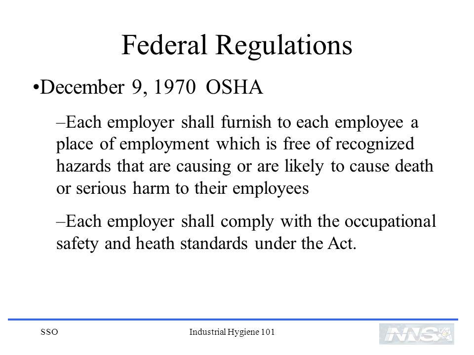 Federal Regulations December 9, 1970 OSHA