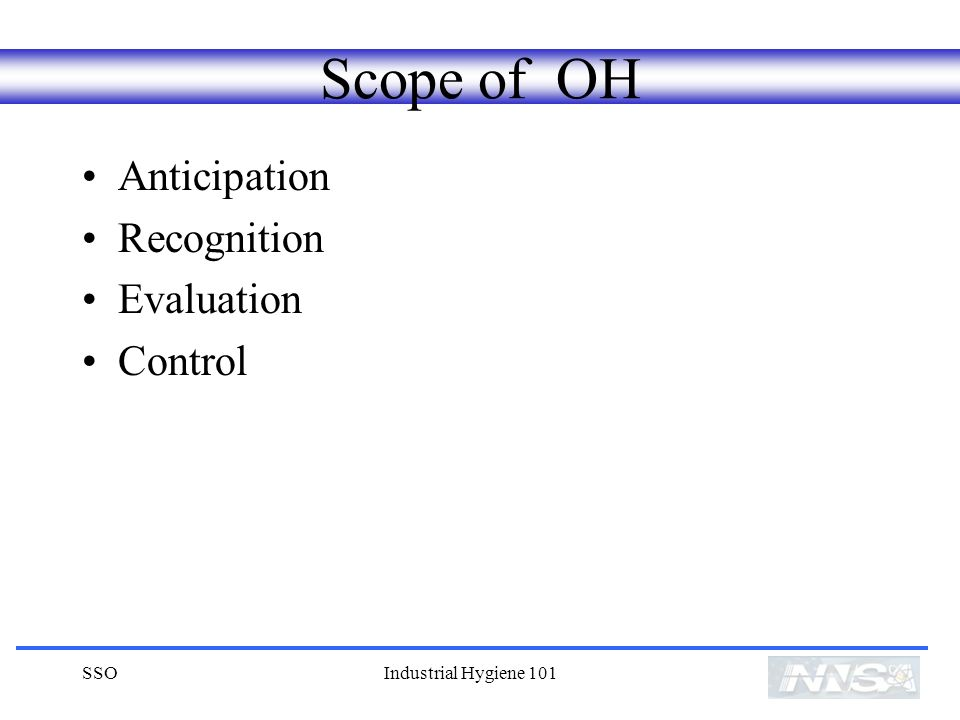 Scope of OH Anticipation Recognition Evaluation Control SSO