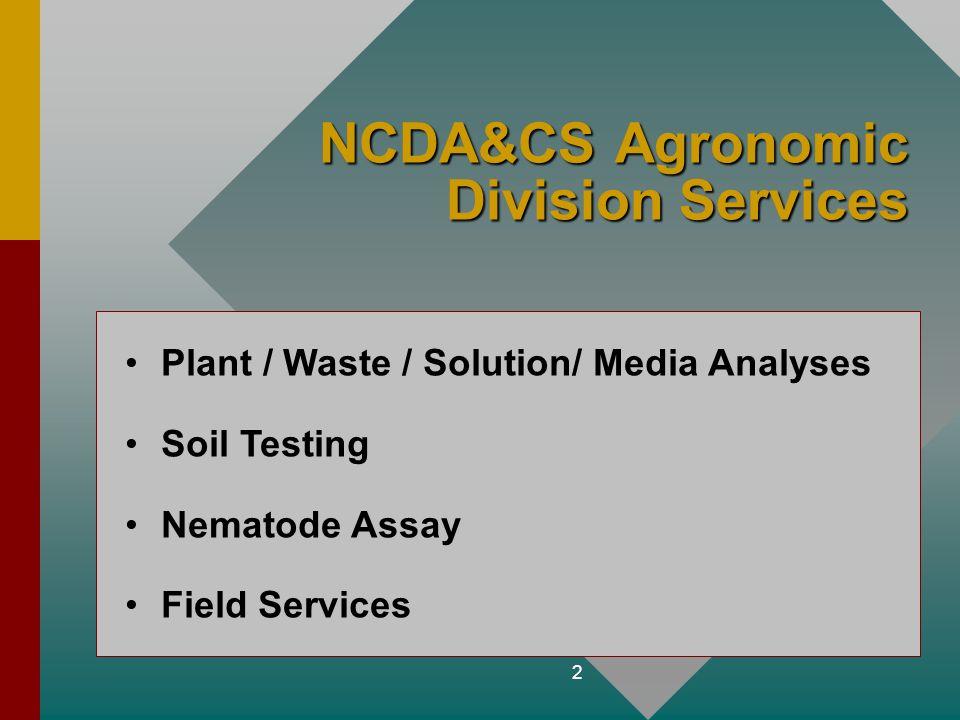 NCDA&CS Agronomic Division Services