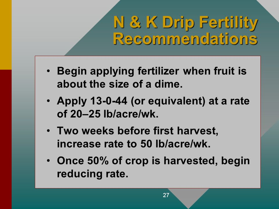 N & K Drip Fertility Recommendations
