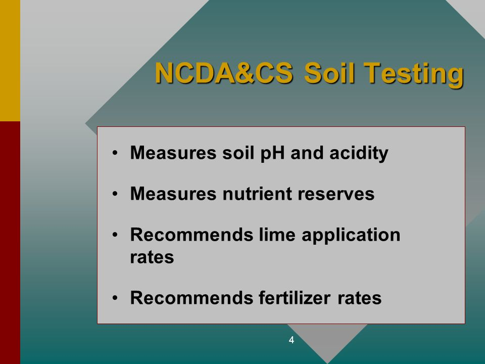 NCDA&CS Soil Testing Measures soil pH and acidity