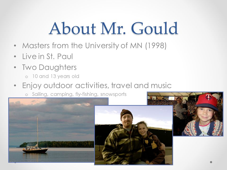 About Mr. Gould Masters from the University of MN (1998)