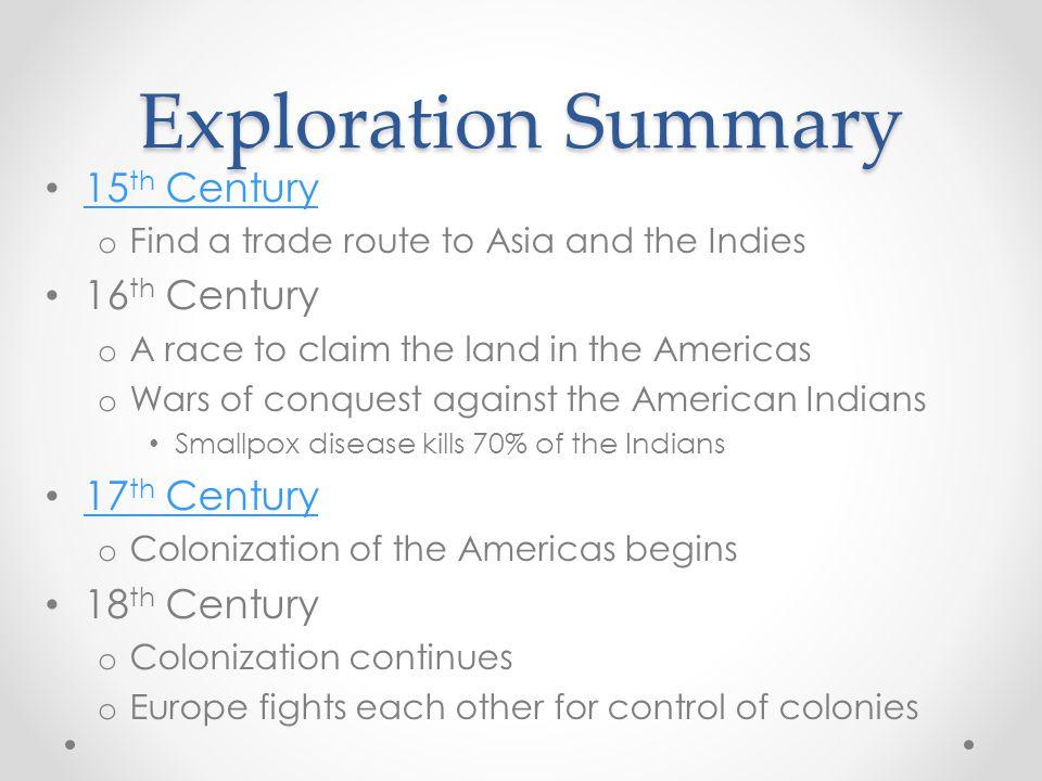 Exploration Summary 15th Century 16th Century 17th Century