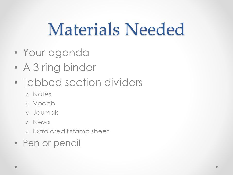 Materials Needed Your agenda A 3 ring binder Tabbed section dividers