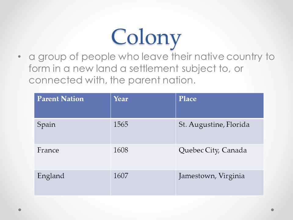 Colony a group of people who leave their native country to form in a new land a settlement subject to, or connected with, the parent nation.