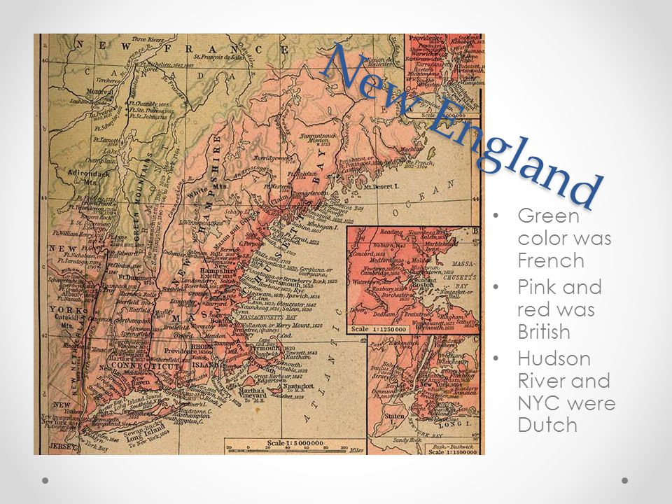 New England Green color was French Pink and red was British