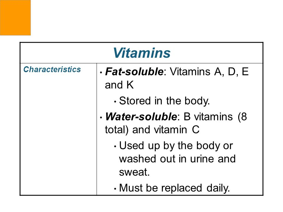 Vitamins Fat-soluble: Vitamins A, D, E and K Stored in the body.