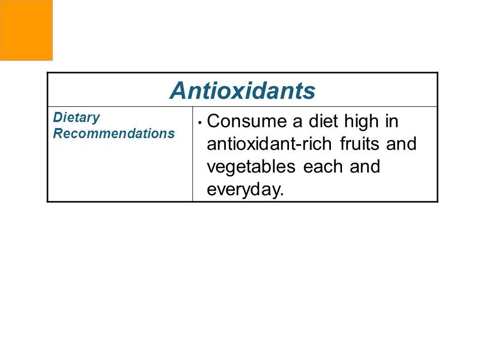 AntioxidantsDietary Recommendations.