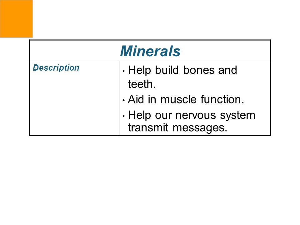 Minerals Help build bones and teeth. Aid in muscle function.