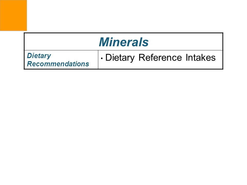 Minerals Dietary Recommendations Dietary Reference Intakes