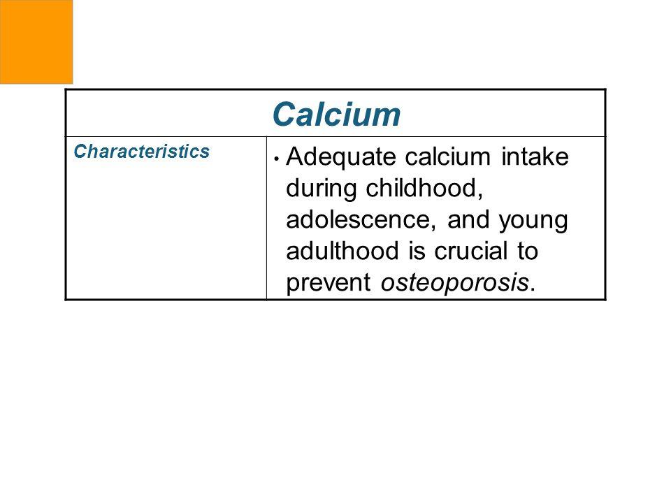 Calcium Characteristics.