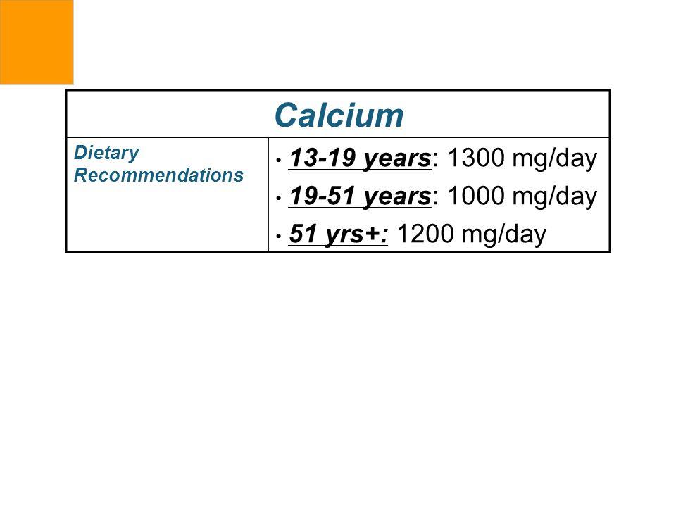 Calcium 13-19 years: 1300 mg/day 19-51 years: 1000 mg/day