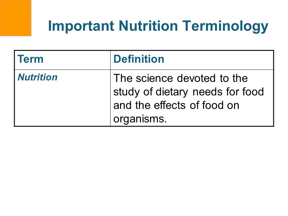 Important Nutrition Terminology