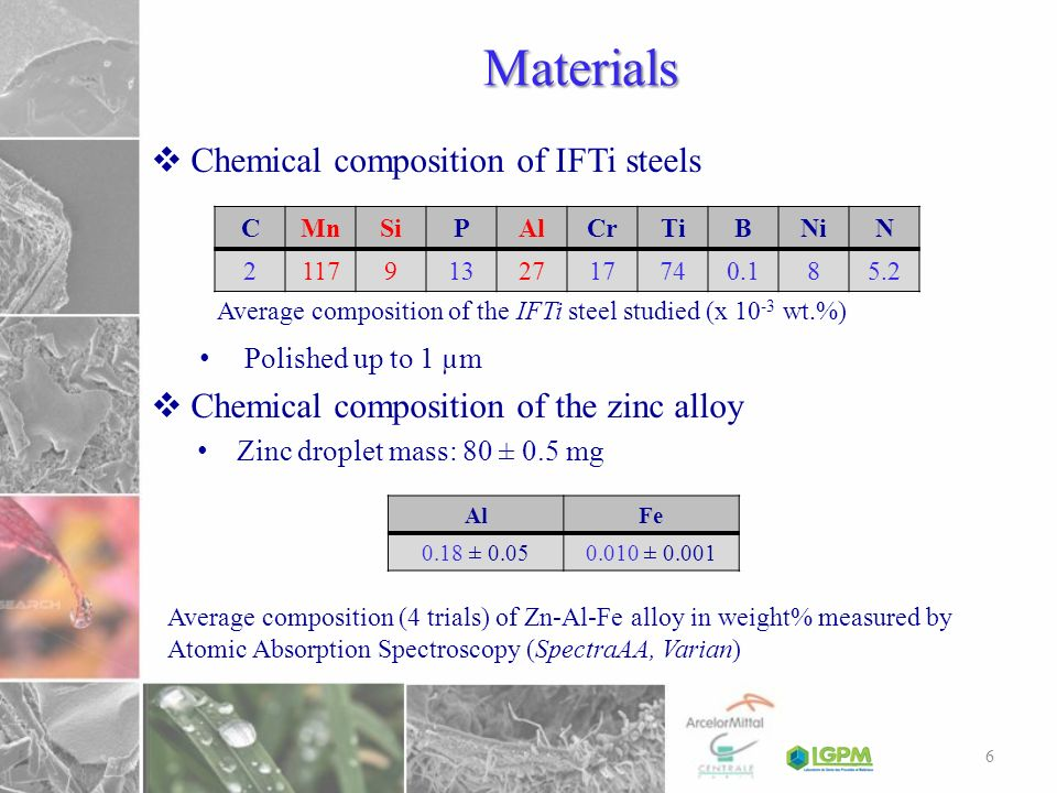 Materials Chemical composition of IFTi steels
