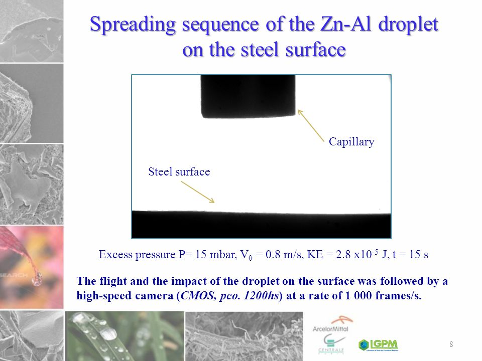 Spreading sequence of the Zn-Al droplet on the steel surface