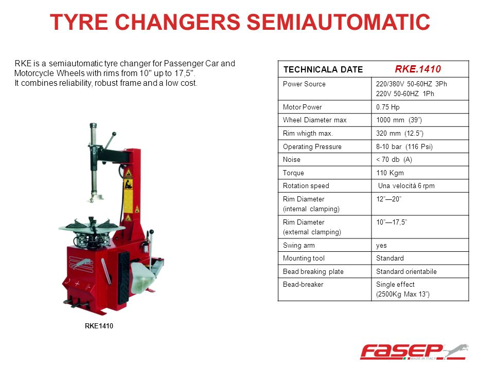 TYRE CHANGERS SEMIAUTOMATIC